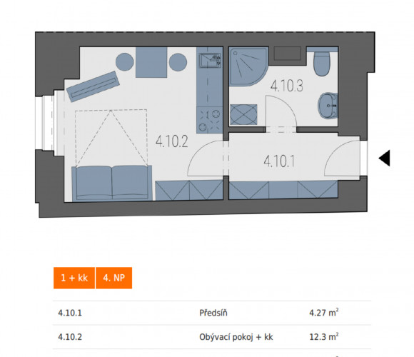 Prodej bytu 1+kk, 22 m2 - Legerova