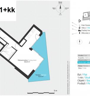 Pronájem bytu 1+kk, 38 m2 - Pitterova, Praha 3